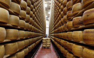 A storage area for Parmesan cheese wheels is pictured at a warehouse owned by Credito Emiliano bank in Montecavolo